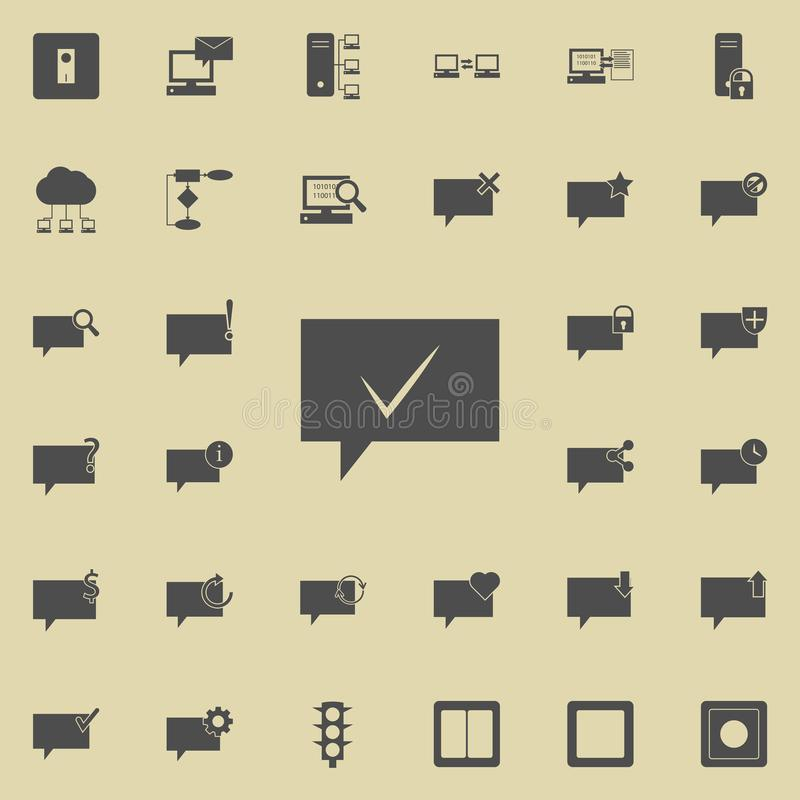 Bubbles communicating with the mark ok icon. Detailed set of Minimalistic icons. Premium quality graphic design sign. One of the. Collection icons for websites vector illustration