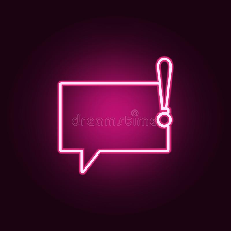 bubbles of communication with an exclamation mark icon. Elements of Web in neon style icons. Simple icon for websites, web design stock illustration