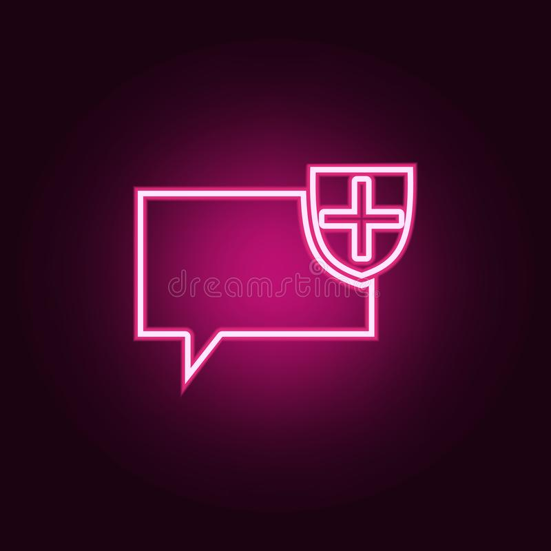 bubbles of communication with the shield icon. Elements of Web in neon style icons. Simple icon for websites, web design, mobile royalty free illustration