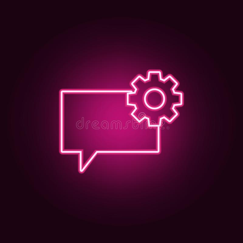 bubbles of communication with the sign of the gear icon. Elements of Web in neon style icons. Simple icon for websites, web design royalty free illustration