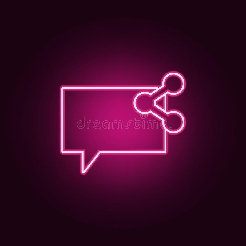 bubbles of communication with the sign will share icon. Elements of Web in neon style icons. Simple icon for websites, web design stock illustration