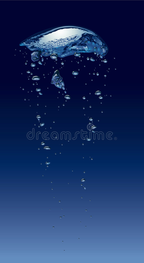 Bubbles in deep water. Air bubbles vibrating in deep water royalty free illustration