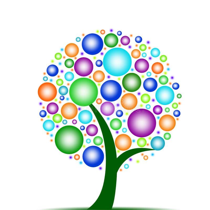 bubbles den färgrika treen vektor illustrationer