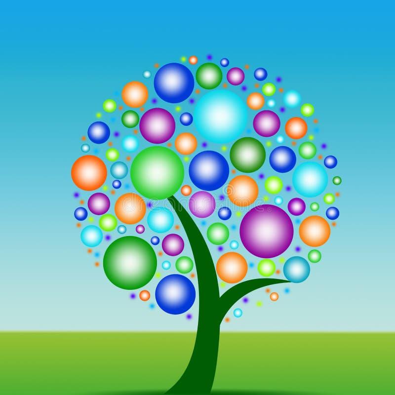 bubbles den färgrika treen stock illustrationer