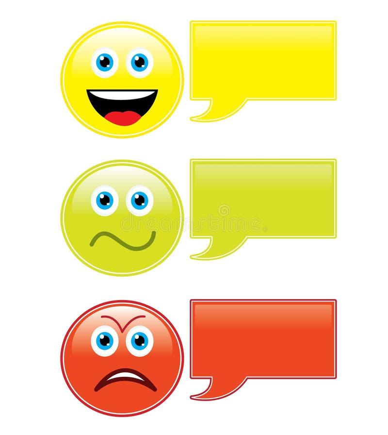 bubbles emoticonsanförande vektor illustrationer