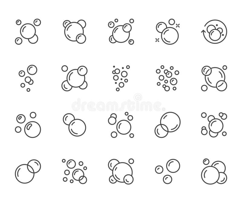 Bubbles flat line icons set. Soap foam, fizzy drink, oxygen bubble pictogram, effervescent effect vector illustrations stock illustration