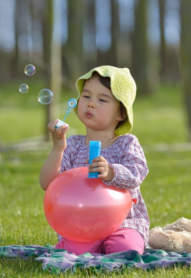 bubbles flickan little tvål arkivbild