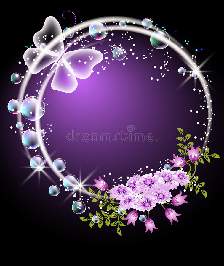 Bubbles, flowers and butterfly vector illustration