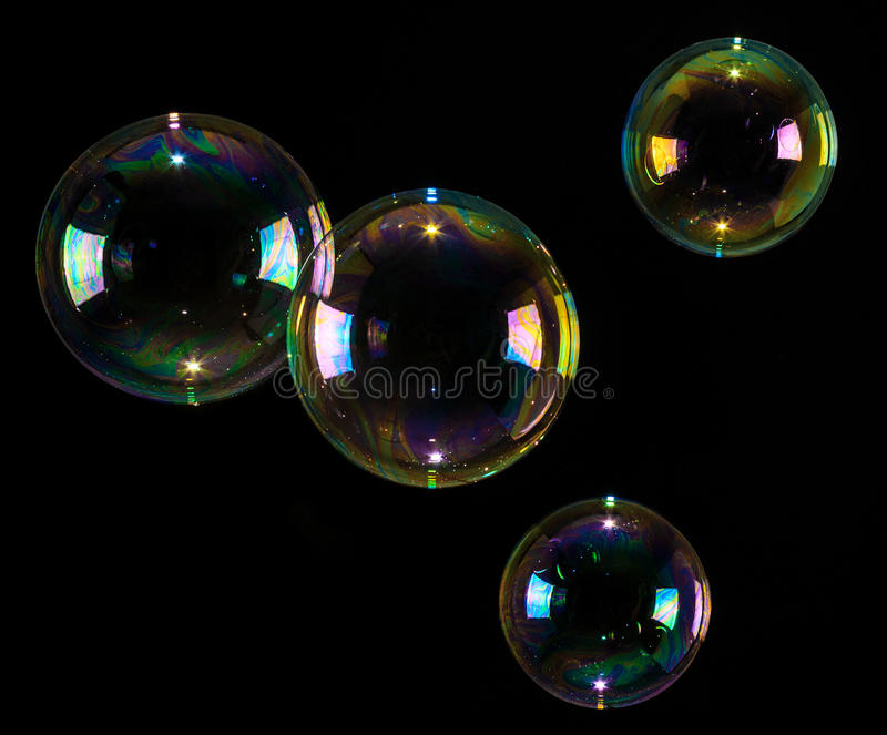 Download Bubbles Floating Over Black Background Stock Photo - Image: 30308124