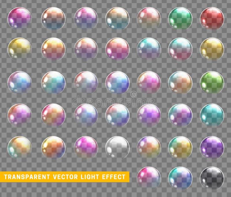 Bubbles soap realistic set with transparent vector illustration vector illustration