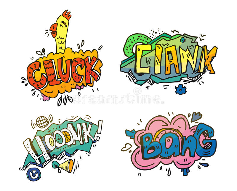 Bubbles of sounds for comix or cartoon, comic book or magazine. Onomatopoeia like clank for mechanical crash or crush royalty free illustration
