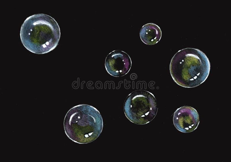 Bubblor färgblyertspenna på svart, såpbubblor royaltyfri fotografi