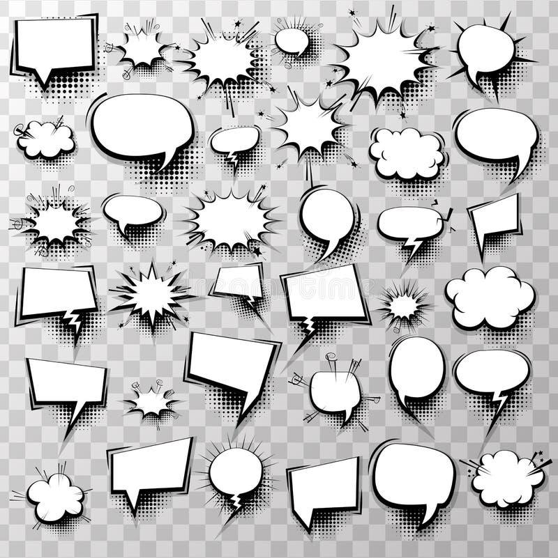 Bubblor för anförande för stora effekter för uppsättning 36 komiska stock illustrationer