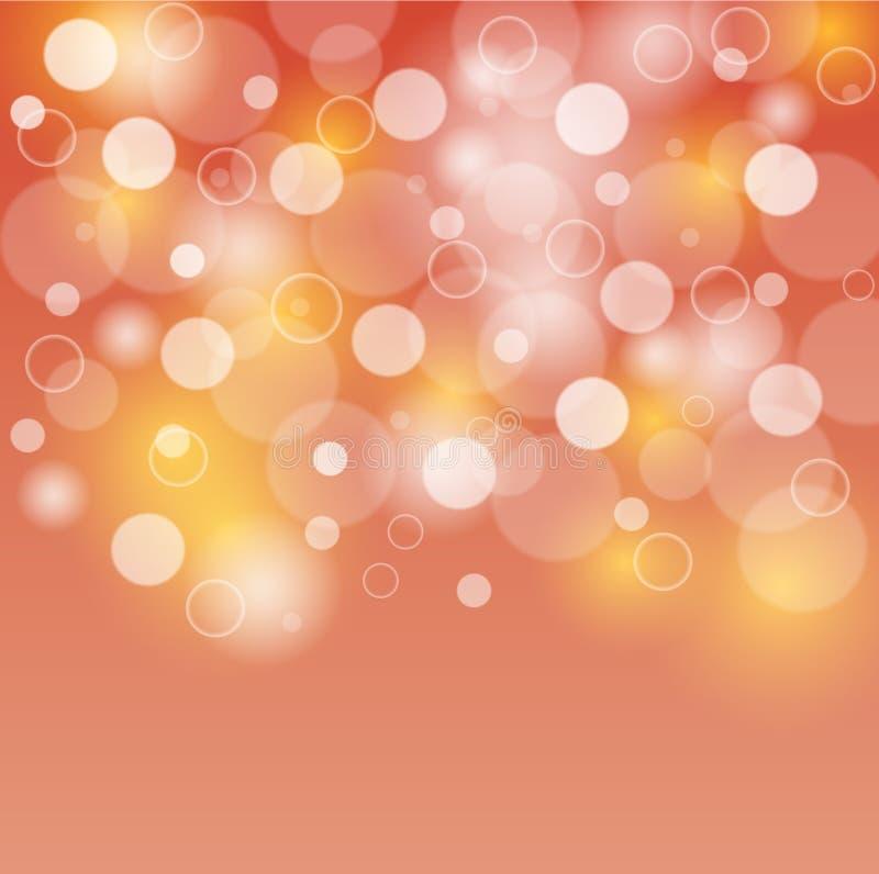 Bubblor för apelsin- och gulingbakgrundsvit eller bokehljus vektor illustrationer