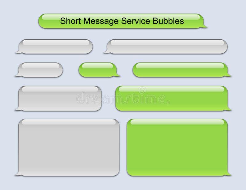 Bubblor för kort meddelandeservice royaltyfri illustrationer
