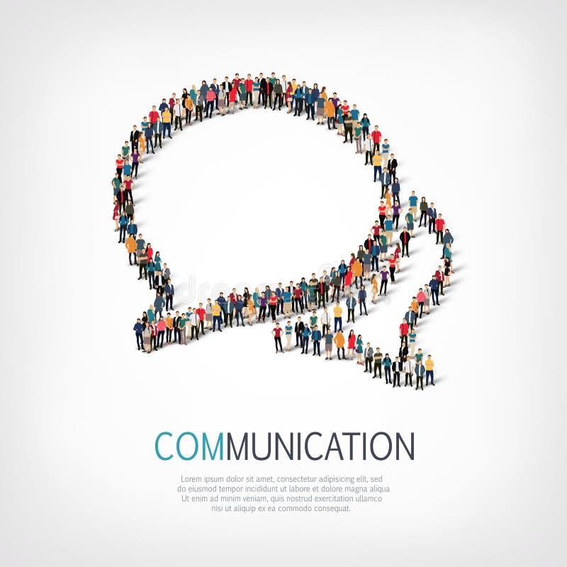 Bubblor för pratstund för gruppfolkform royaltyfri illustrationer