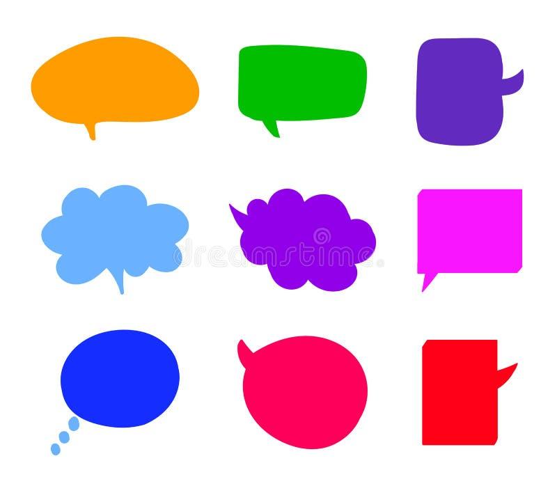 Bubblor in för samtal för vektorhand ställde utdragna färgrika, isolerade tomma moln stock illustrationer