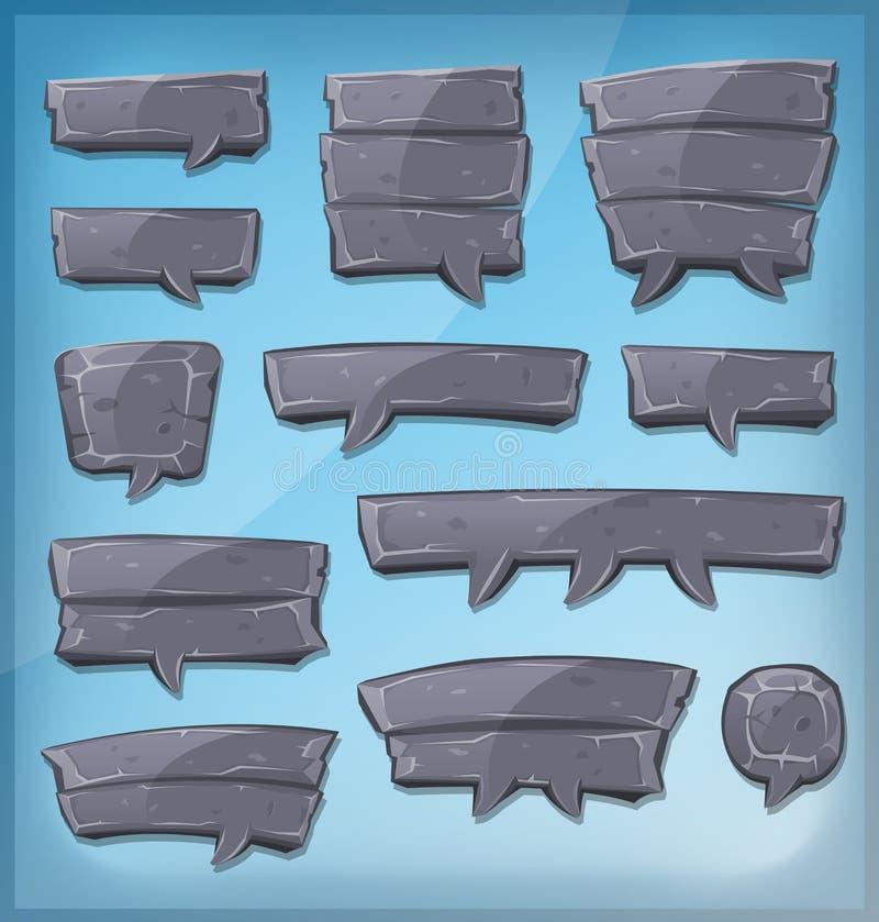 Bubblor för tecknad filmstenanförande för den Ui leken vektor illustrationer