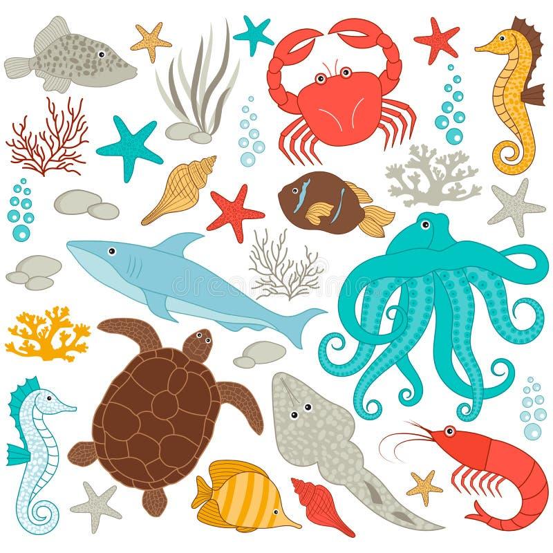 bubblor kopierar vektorn för text för avstånd för seaweeds för havet för fiskillustrationlivstid stock illustrationer