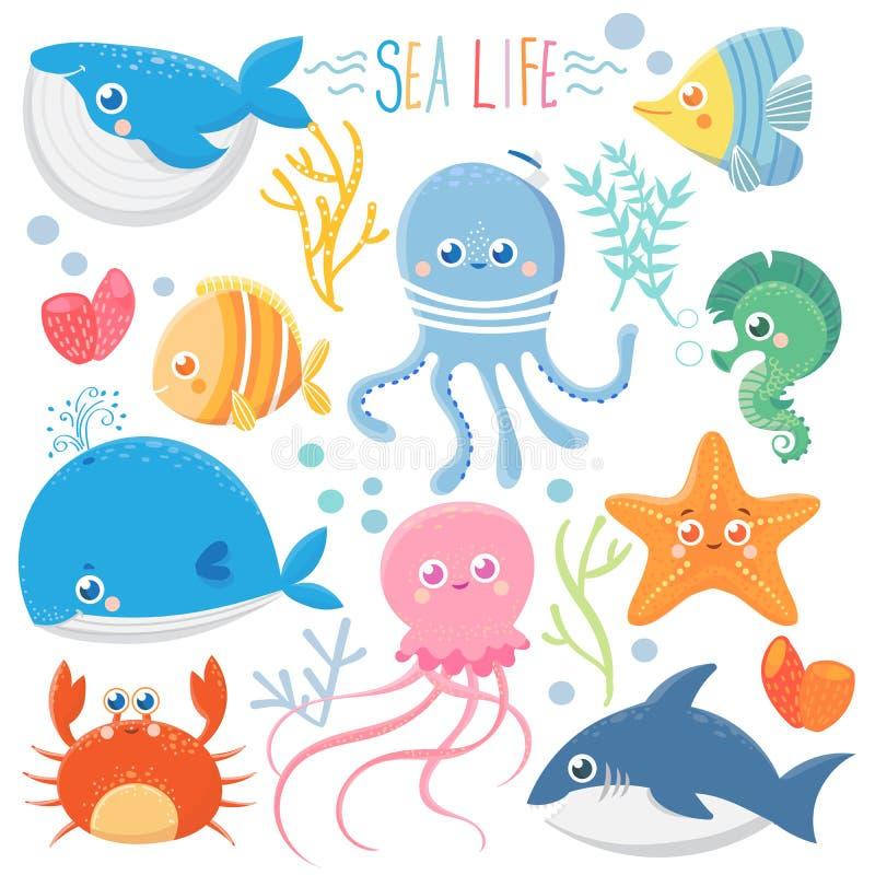 bubblor kopierar vektorn för text för avstånd för seaweeds för havet för fiskillustrationlivstid vektor illustrationer
