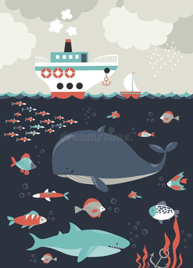 bubblor kopierar vektorn för text för avstånd för seaweeds för havet för fiskillustrationlivstid meno för lombok för giliindonesi royaltyfri illustrationer