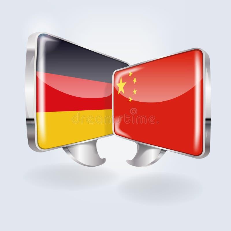 Bubblor med Tyskland och Kina vektor illustrationer