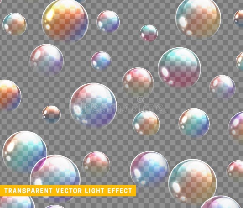 Bubblor soap den realistiska uppsättningen som isoleras med den genomskinliga bakgrundsvektorillustrationen stock illustrationer