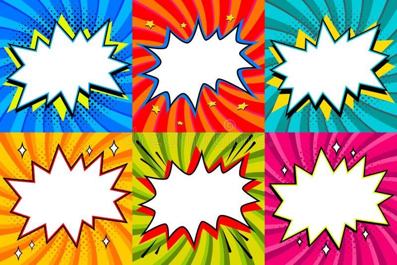 bubblor ställde in anförande Bubblar utformat tomt anförande för popkonst mallen för din design Komiska anförandebubblor för klar vektor illustrationer