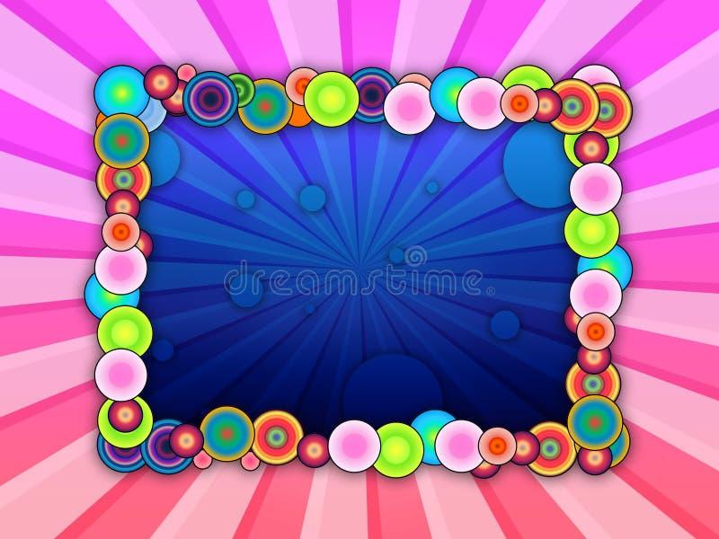 Bubbly Frame on Striped Background. A frame of colorful bubbles on striped pink background. Please visit my portfolio for more vector illustration