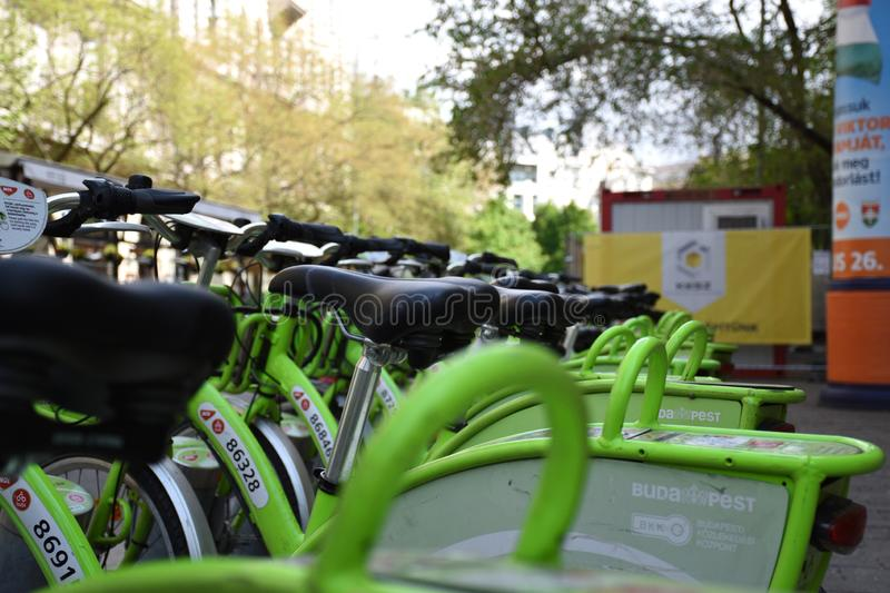BuBi bike sharing network in Budapest royalty-vrije stock afbeelding
