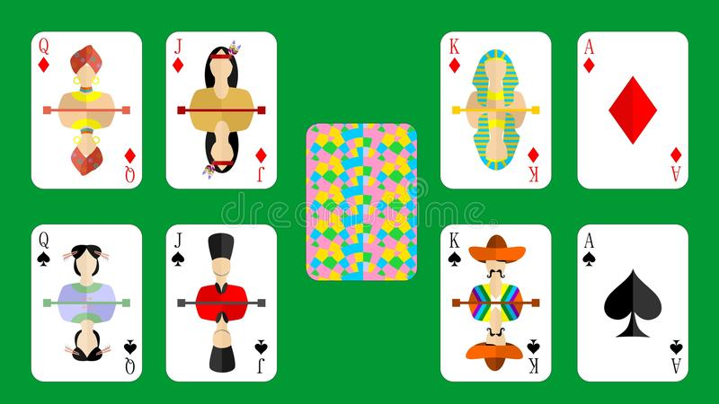 The bubi peaks. Beautiful and original set of designer playing cards in the style of flat design vector illustration
