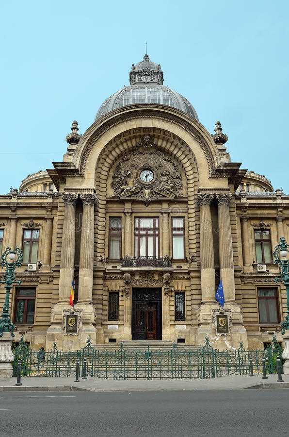 Le palais de CCE à Bucarest, Roumanie. image stock