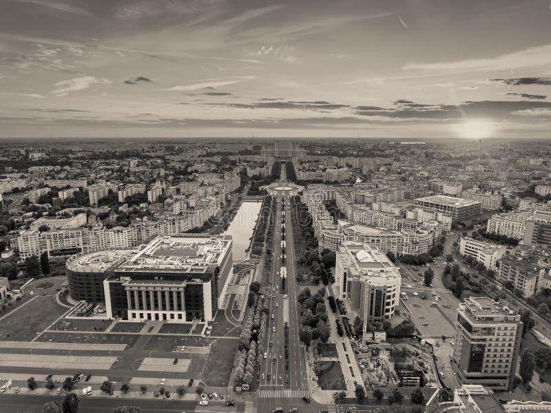 Bucarest de version noire et blanche ci-dessus photo libre de droits