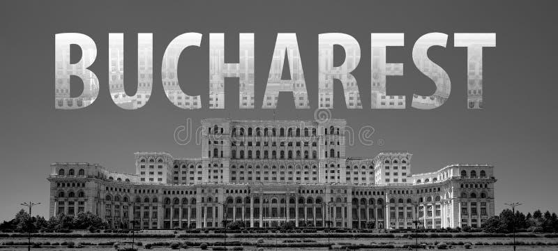 Bucarest que pone letras en blanco y negro fotografía de archivo libre de regalías
