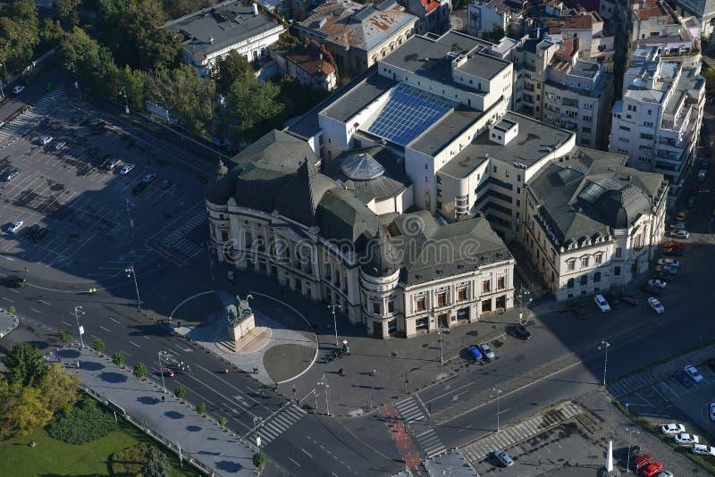 Bucarest, Romania, il 9 ottobre 2016: Vista aerea della biblioteca universitaria centrale immagine stock libera da diritti