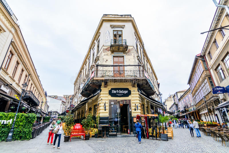 BUCAREST, ROMANIA - 25 OTTOBRE 2015: Centro storico, Lipsca fotografia stock libera da diritti