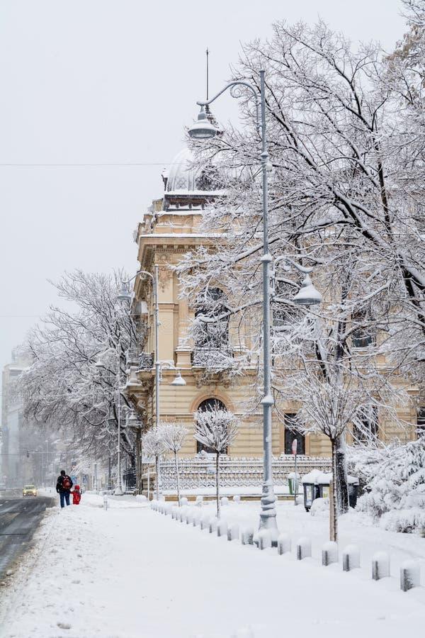 Bucarest, Roumanie - 17 janvier : Rue de Calea Victoriei sur Janua images stock