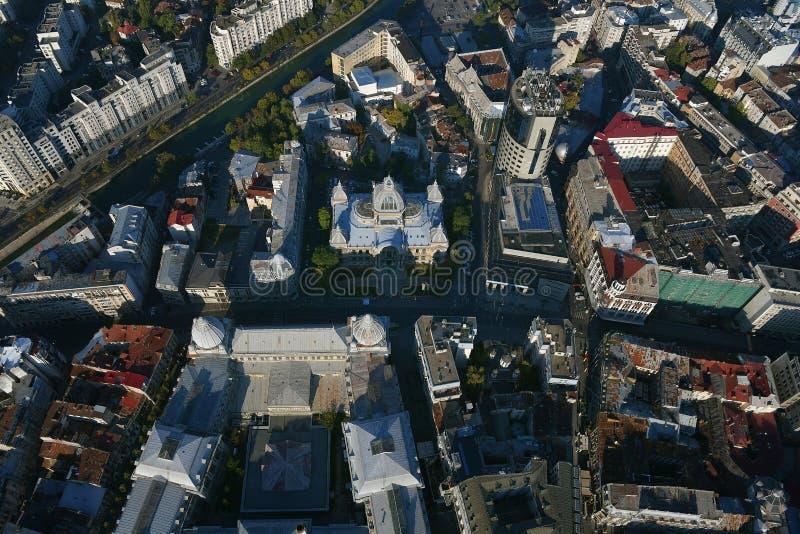 Bucarest, Roumanie, le 9 octobre 2016 : Vue aérienne de CEC Palace à Bucarest image libre de droits