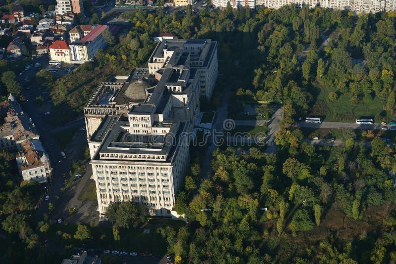 Bucarest, Roumanie, le 9 octobre 2016 : Vue aérienne du bâtiment roumain d'académie photos stock