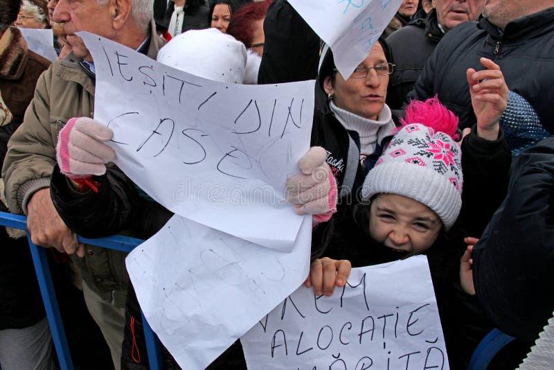 Bucarest, Roumanie - protestation contre le Président Klaus Iohannis photo libre de droits