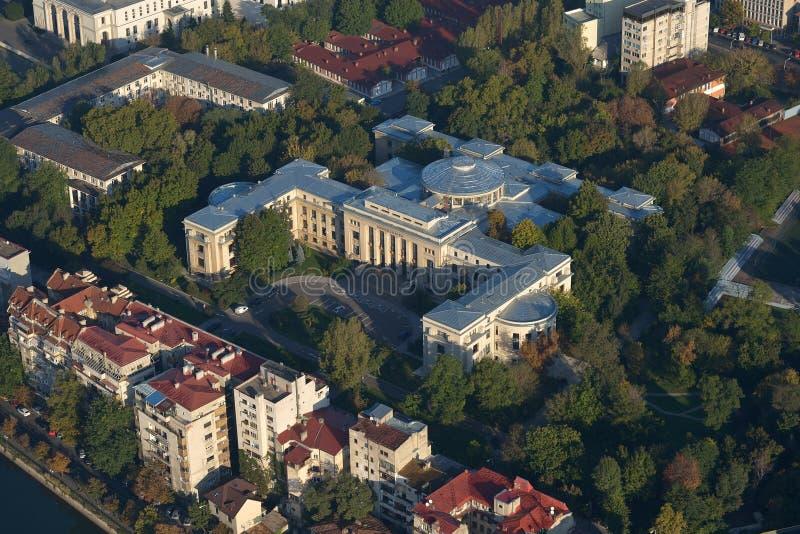 Bucarest, Rumania, el 10 de abril de 2015: Opinión aérea el rector University de Bucarest fotografía de archivo