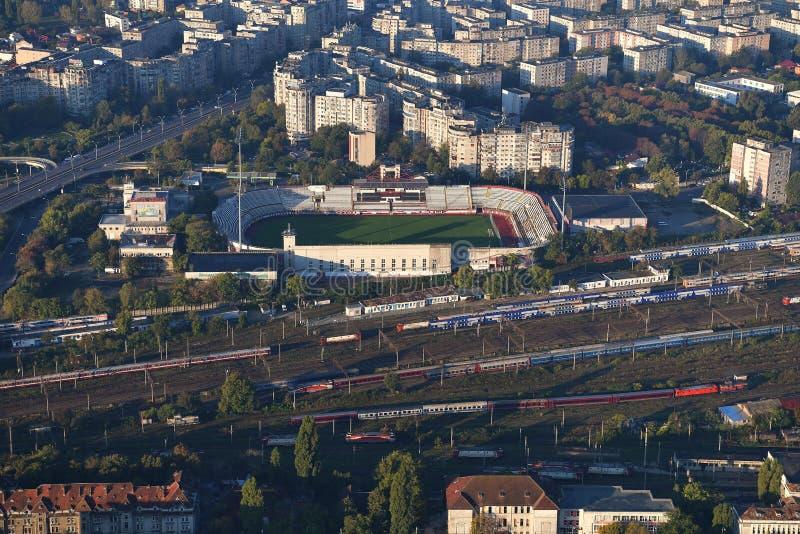 Bucarest, Rumania, el 9 de octubre de 2016: Vista aérea del estadio rápido de Bucarest fotografía de archivo