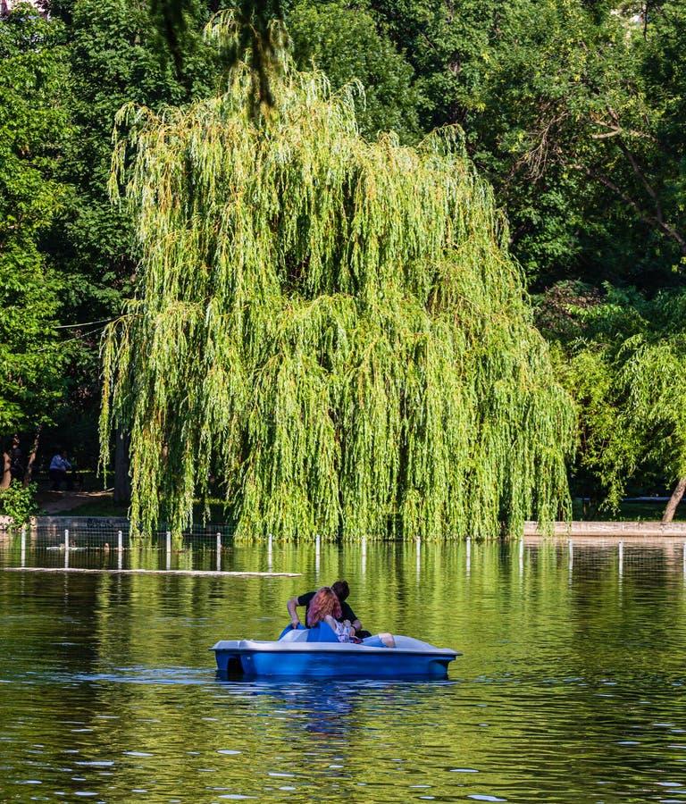 Bucarest, Rumania - 2019 Retrato de pares jovenes en el amor que habla mientras que canotaje del pedal en el lago Hombre y mujer  imagen de archivo
