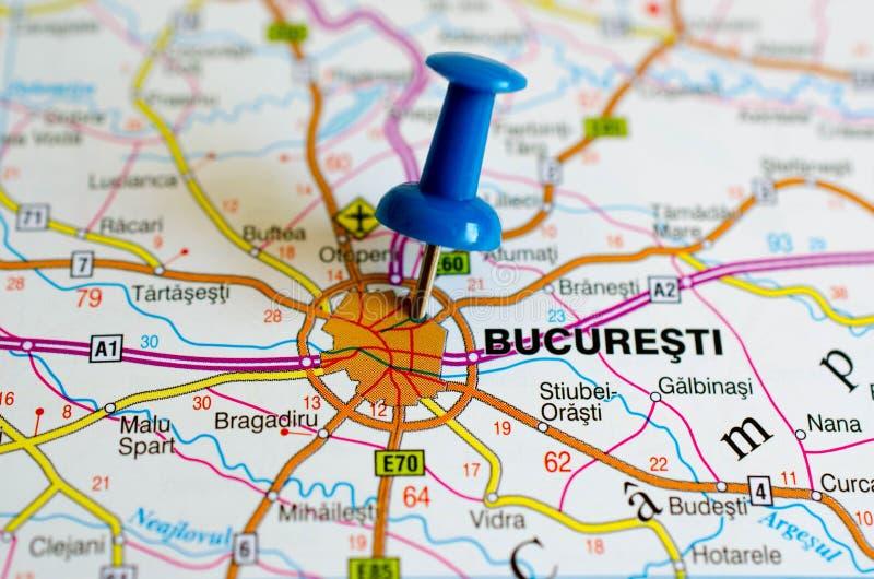 Bucarest sur la carte photos libres de droits