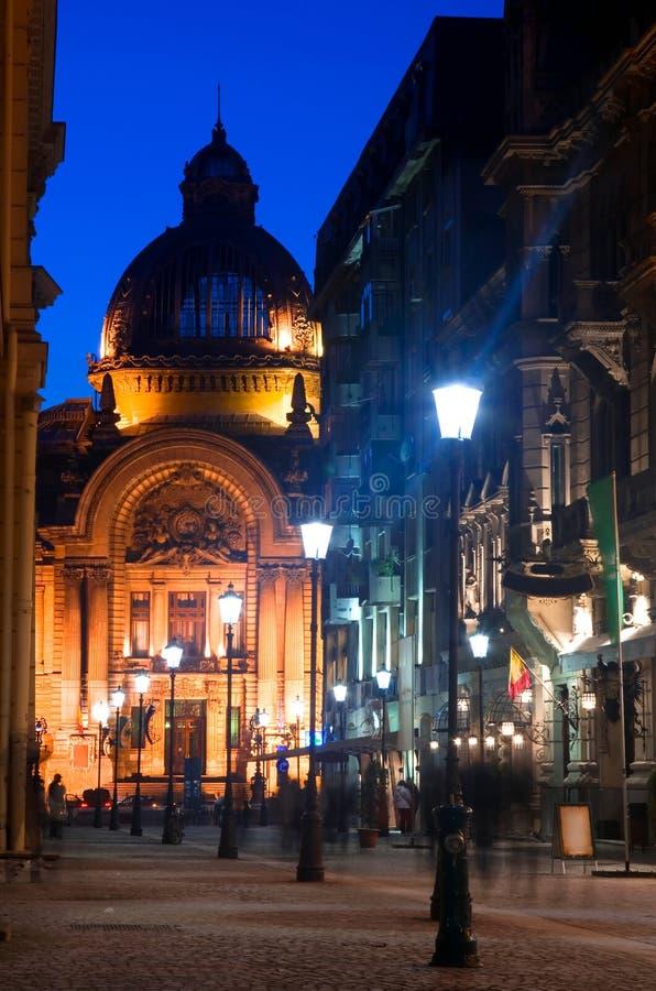 Bucareste - de rua e de CEC de Stavropoleos palácio imagem de stock