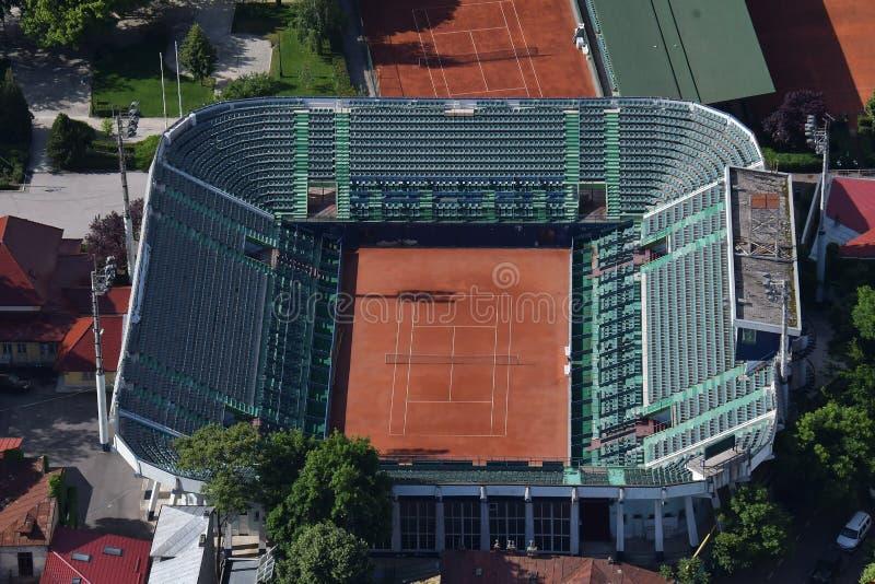 Bucareste, Romênia, o 15 de maio de 2016: Ideia aérea do complexo de Arenele BNR do tênis em Bucareste fotos de stock