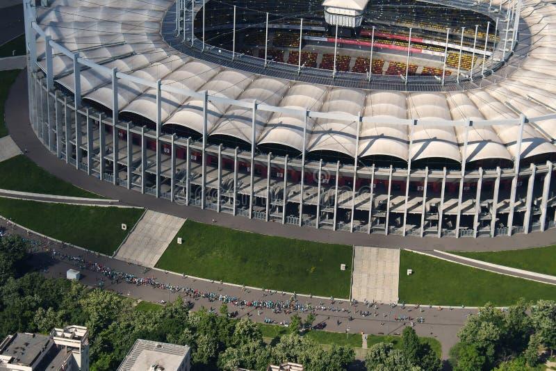 Bucareste, Romênia, o 15 de maio de 2016: Vista aérea da arena do nacional de Bucareste fotografia de stock royalty free