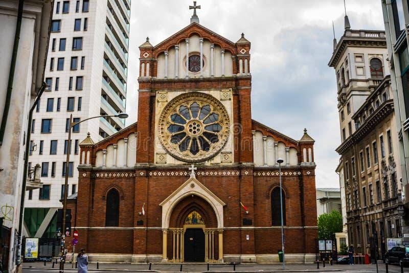 Bucareste, Rom?nia - 2019 St Joseph Catholic Cathedral ou Catedrala Sf Iosif em Bucareste a visita do papa Francisc dentro imagem de stock