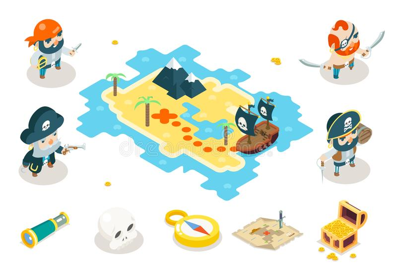Buccaneer-Verschleppungstaktik-Seeräuber-Ozean-Seehundepiraten-Schatz-Abenteuer-Spiel RPG-Karten-Charakter-Ikonen-isometrisches S vektor abbildung