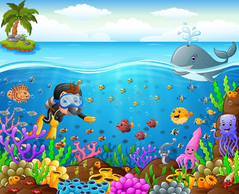 Buceador de la historieta debajo del mar stock de ilustración